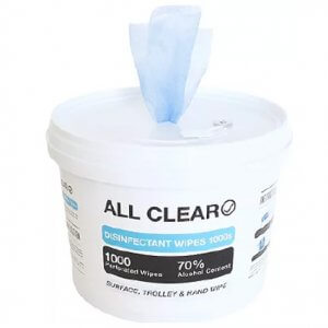 all clear disinfectant wipes 70% alcohol